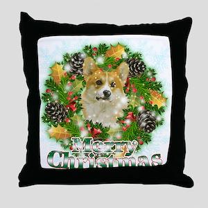 Merry Christmas Corgi Throw Pillow