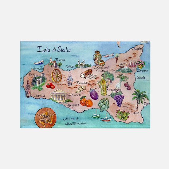 Map Of Sicily Rectangle Magnet