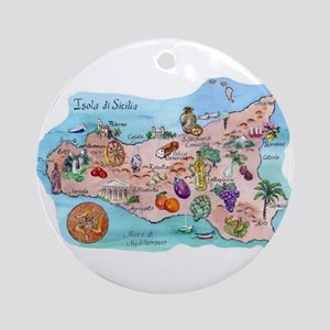 Map Of Sicily Ornament (Round)