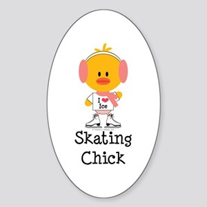 Ice Skating Chick Sticker (Oval)