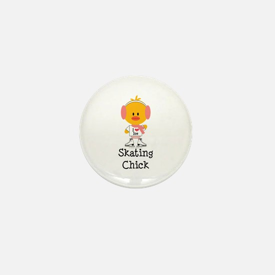 Ice Skating Chick Mini Button
