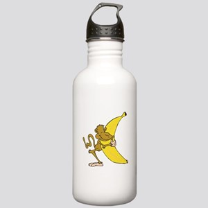 Silly Monkey Hugging Banana Stainless Water Bottle