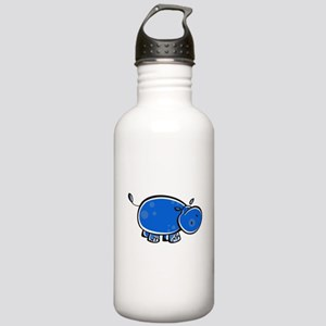 Bright Blue Hippo Stainless Water Bottle 1.0L