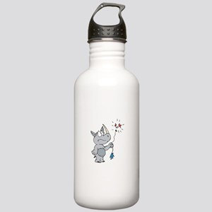 Rhino With Popped Balloon Stainless Water Bottle 1