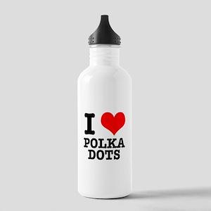I Heart (Love) Polka Dots Stainless Water Bottle 1