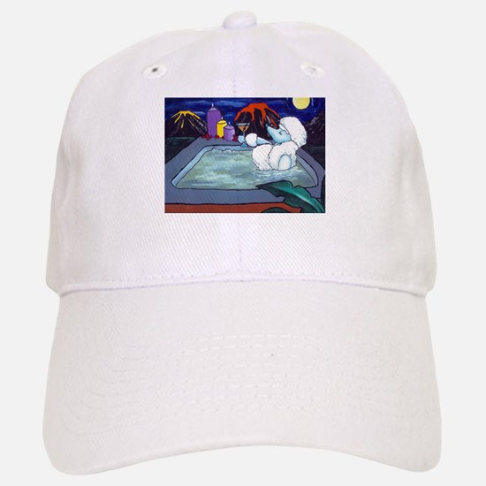 White Pampered Poodle Baseball Baseball Cap
