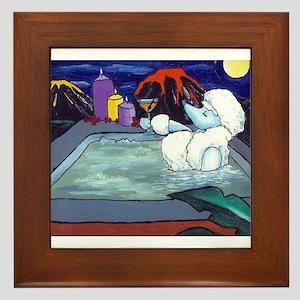 White Pampered Poodle Framed Tile