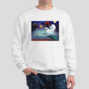 White Pampered Poodle Sweatshirt