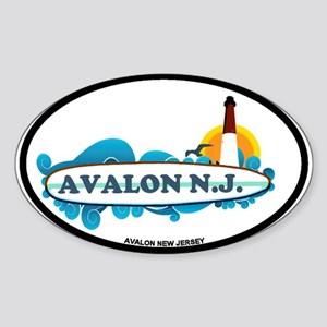Avalon NJ - Surf Design Sticker (Oval)