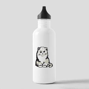 Cute White Persian Kitten Stainless Water Bottle 1