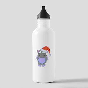 Cute Chrismas Hippo Santa Stainless Water Bottle 1