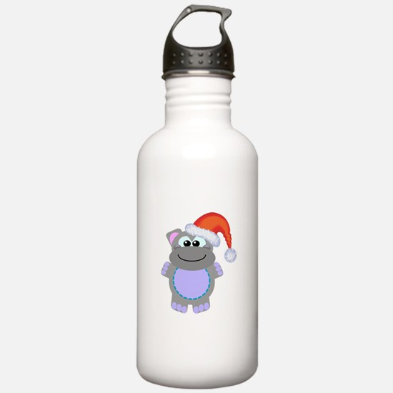 Cute Chrismas Hippo Santa Water Bottle
