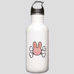 Pink Bunny Rabbit & Crossbone Stainless Water