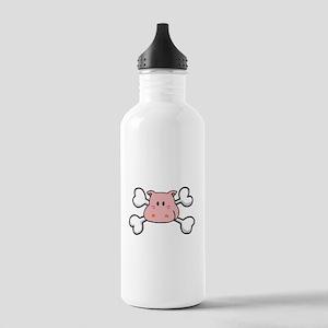 Pink Hippo Crossbones Design Stainless Water Bottl