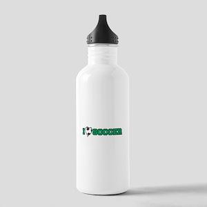 I Heart (Love) Soccer Stainless Water Bottle 1.0L