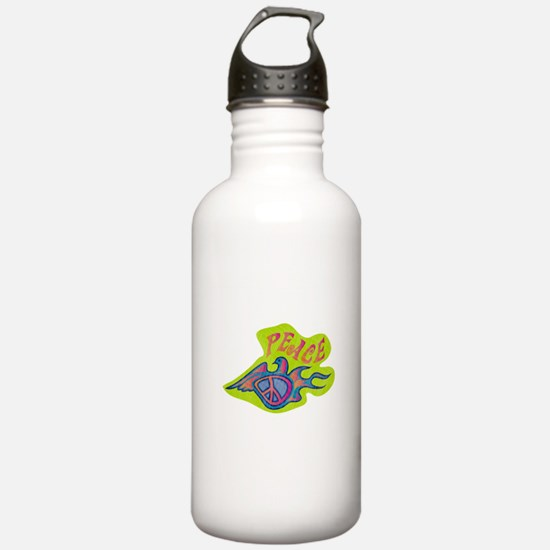 Retro Peace Dove Water Bottle