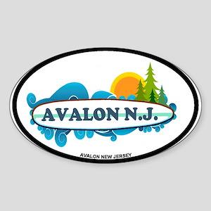 Avalon NJ - Surf Design Sticker (Oval)