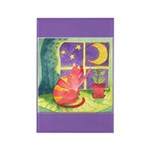 Cat and Moon Watercolor Rectangle Magnet