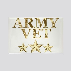 Army Vet 3 Star Camo Rectangle Magnet
