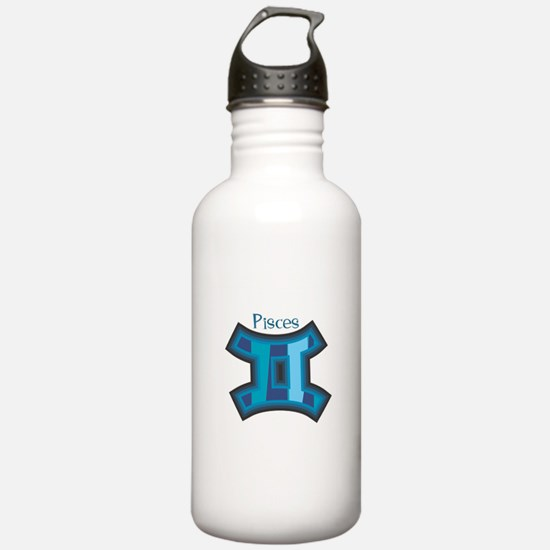 Striped Blue Pisces Symbol Water Bottle