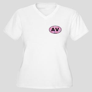 Avalon NJ - Oval Design Women's Plus Size V-Neck T