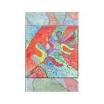 Multicolor Oak Leaf Art Rectangle Magnet
