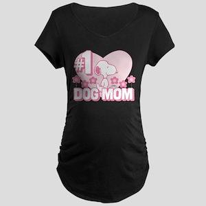 #1 Dog Mom Maternity Dark T-Shirt