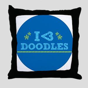 I Love Doodles Throw Pillow