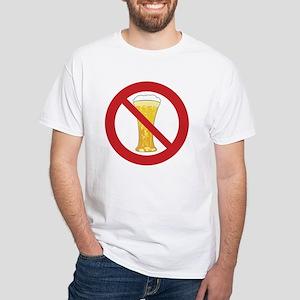 "Sober Living T-Shirt, White: ""No Beer"""