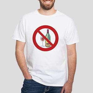 """Sober Living T-Shirt, White: """"No Wine"""""""