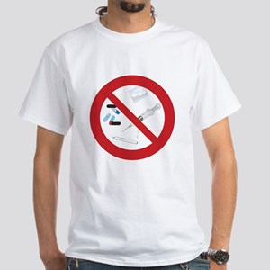 "Clean Living T-Shirt, White: ""No Drugs"""