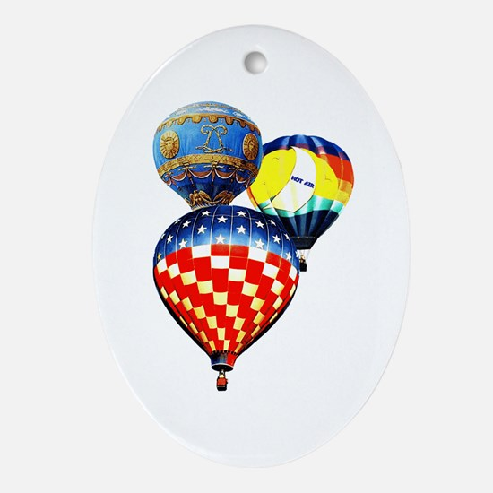 3 Hot Air Balloons Ornament (Oval)