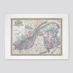 Vintage Map of Quebec and New Bruns 5'x7'Area Rug