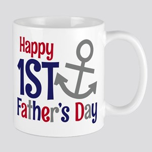 Happy 1st Father's Day Anchor Mugs
