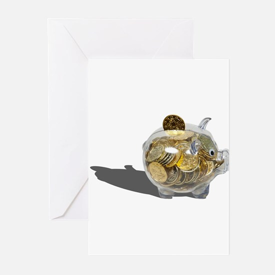 Piggy Bank Gold Coins Greeting Cards (Pk of 20)