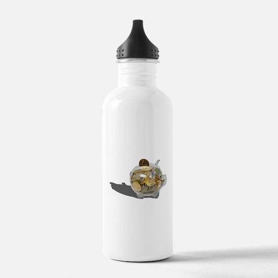 Piggy Bank Gold Coins Water Bottle