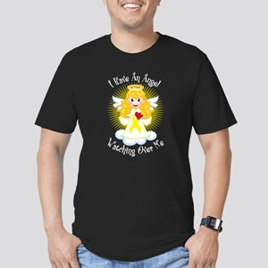 Angel Watching Me Yellow Ribb Men's Fitted T-Shirt