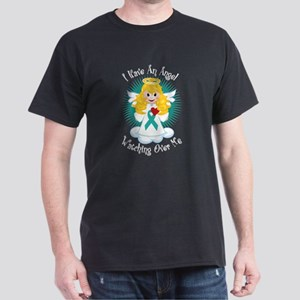 Angel Watching Me Teal Ribbon Dark T-Shirt