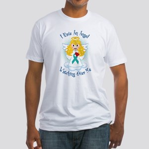 Angel Watching Me Teal Ribbon Fitted T-Shirt
