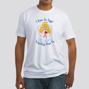 Angel Watching Me Pink Ribbon Fitted T-Shirt