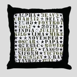 Camo ABCs Throw Pillow