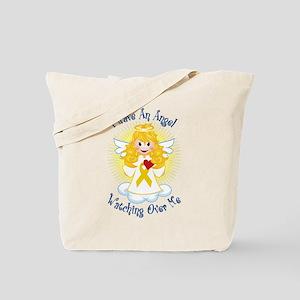 Angel Watching Me Gold Ribbon Tote Bag
