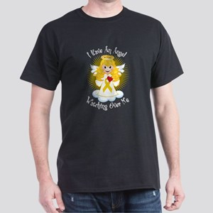 Angel Watching Me Gold Ribbon Dark T-Shirt