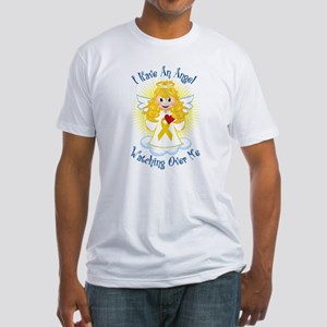 Angel Watching Me Gold Ribbon Fitted T-Shirt