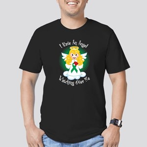 Angel Watching Me Green Ribbo Men's Fitted T-Shirt