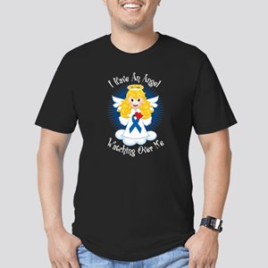 Angel Watching Me Blue Ribbon Men's Fitted T-Shirt