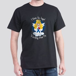 Angel Watching Me Blue Ribbon Dark T-Shirt