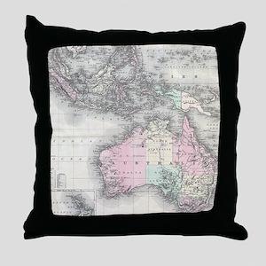 Vintage Australia & Southeastern Asia Throw Pillow