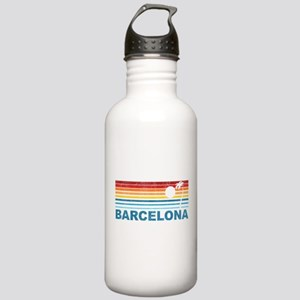 Retro Palm Tree Barcelona Stainless Water Bottle 1