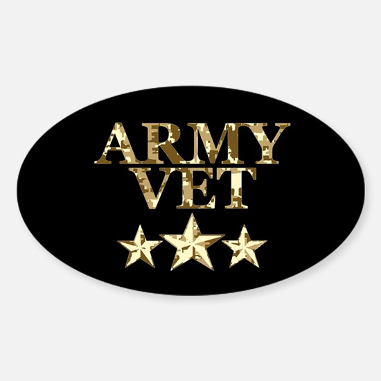 Army Vet 3 Star Camo Sticker (Oval)